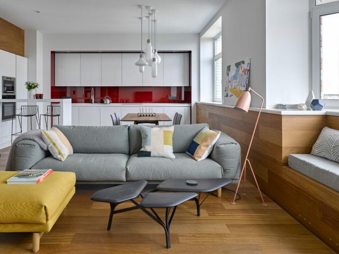 расстановка мебели в интерьере кухни-гостиной