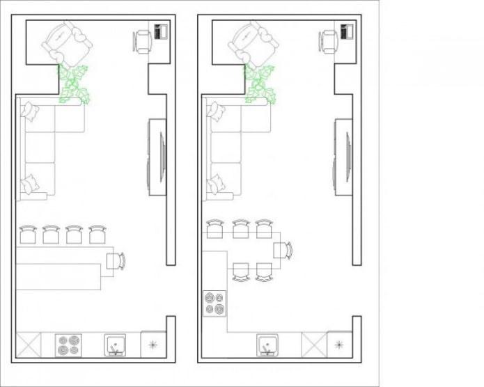планировка кухни-гостиной 30 квадратов