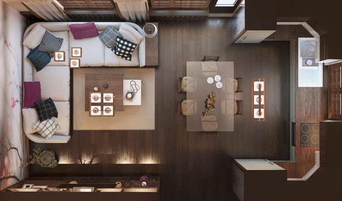 планировка прямоугольной кухни-гостиной 25 квадратов