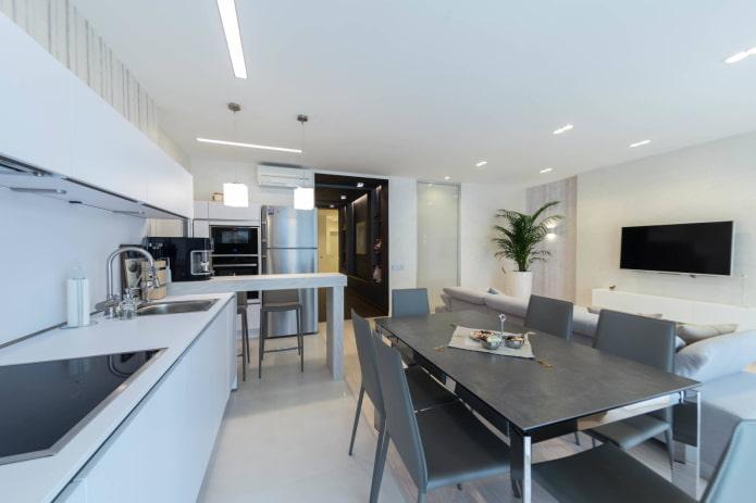 Телевизор в кухне-гостиной