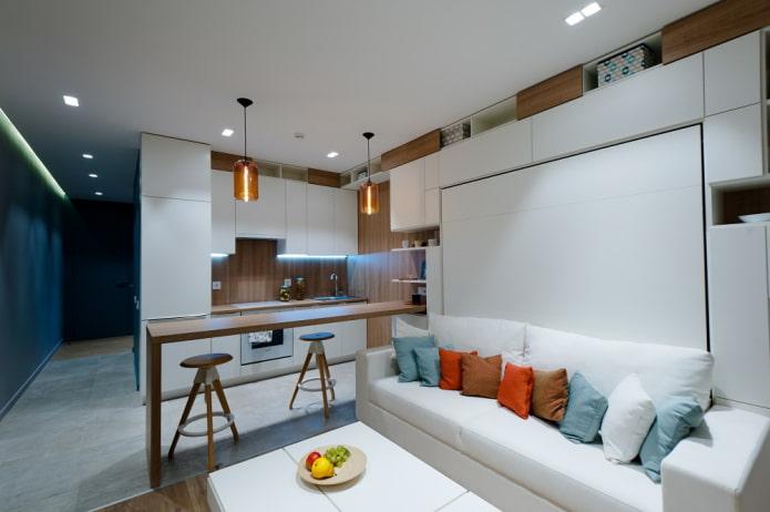 зонирование кухни-гостиной площадью 15 квадратов