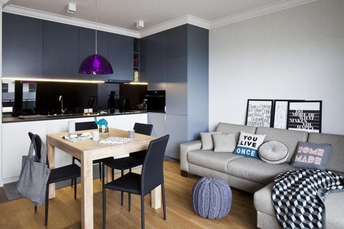 расположение дивана в интерьере кухни-гостиной