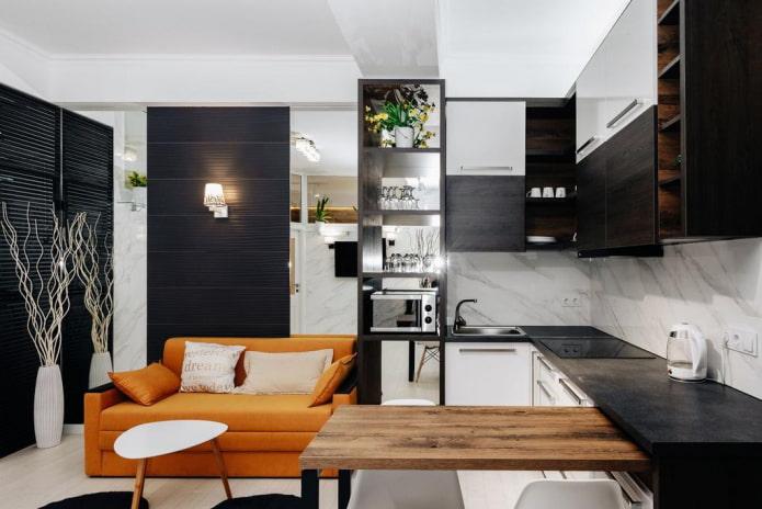 дизайн кухни-гостиной 15 квадратов