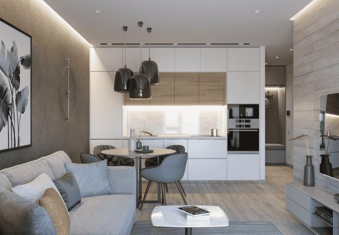 кухня-гостиная квадратной формы