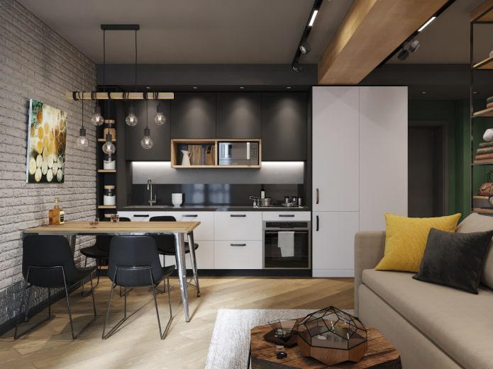 интерьер кухни-гостиной 15 квадратов в стиле лофт