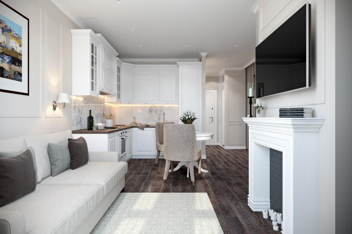 интерьер кухни-гостиной 15 квадратов в стиле классика