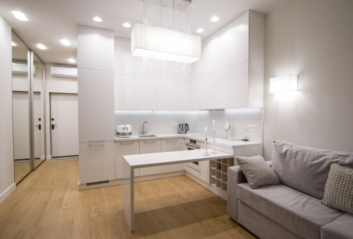 интерьер кухни-гостиной 15 квадратов в стиле хай-тек