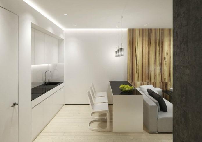 интерьер кухни-гостиной 15 квадратов в стиле минимализм