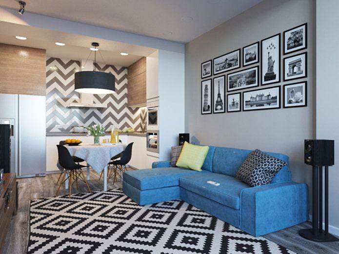 интерьер кухни-гостиной 15 квадратов в скандинавском стиле