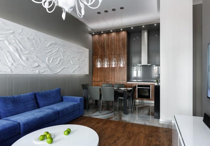 интерьер кухни-гостиной 15 квадратов в современном стиле