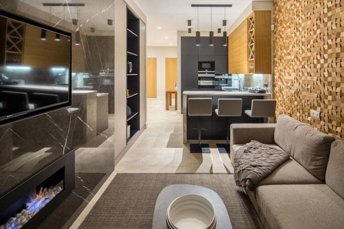 стильная кухня-гостиная