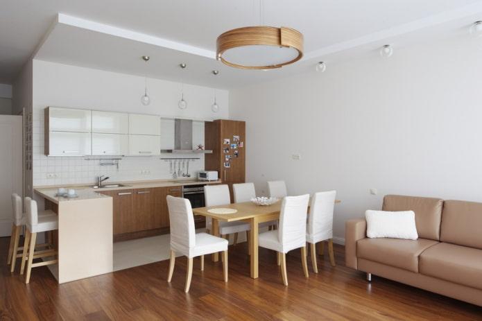интерьер кухни-гостиной в светлых тонах