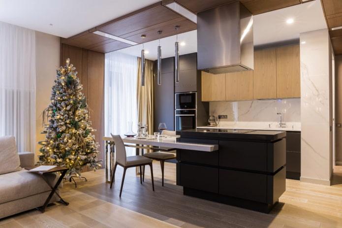 кухонный гарнитур в интерьере кухни-гостиной