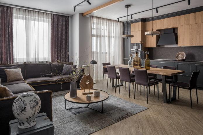 дизайн кухни-гостиной с двумя окнами
