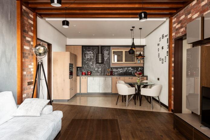 зонирование совмещенной кухни-гостиной