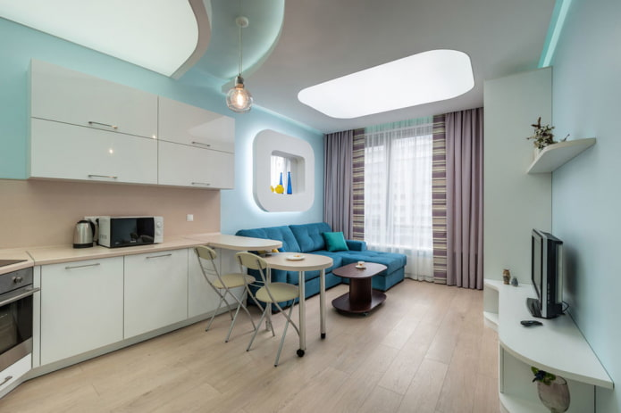 оформление окна в интерьере кухни-гостиной