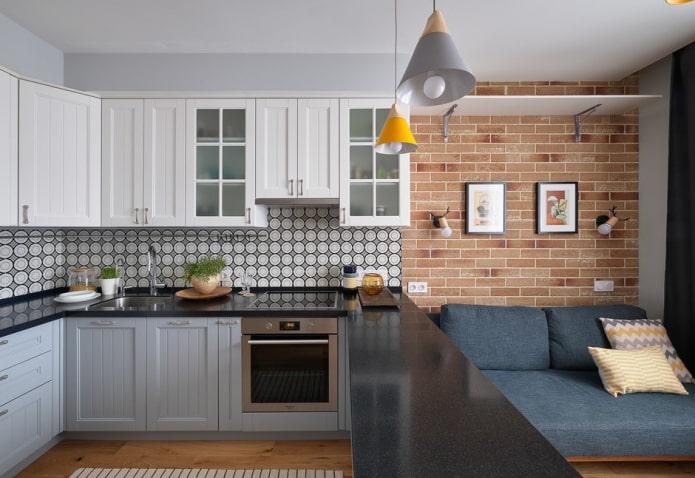 отделка стен в интерьере кухни-гостиной