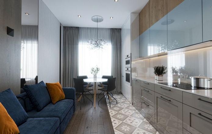 дизайн кухни-гостиной с одним окном