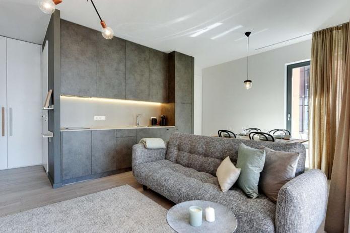 интерьер кухни-гостиной с открытой планировкой