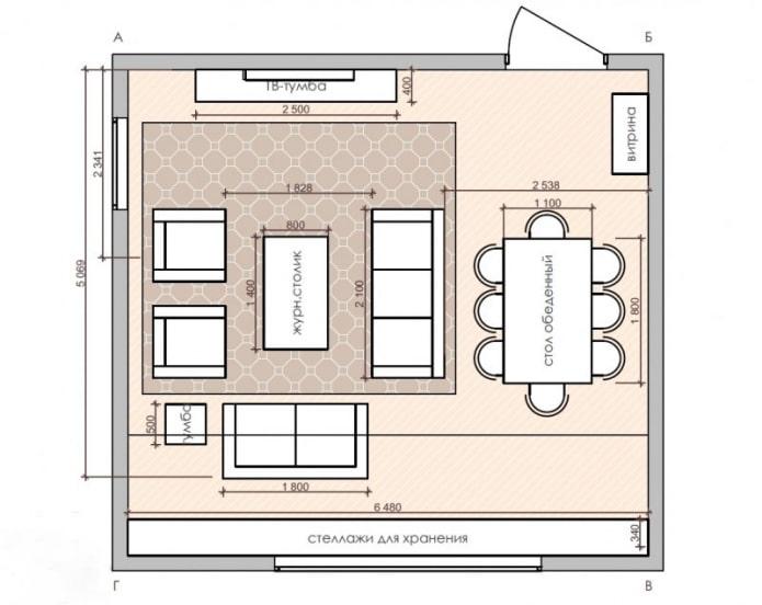 план кухни-гостиной квадратной формы