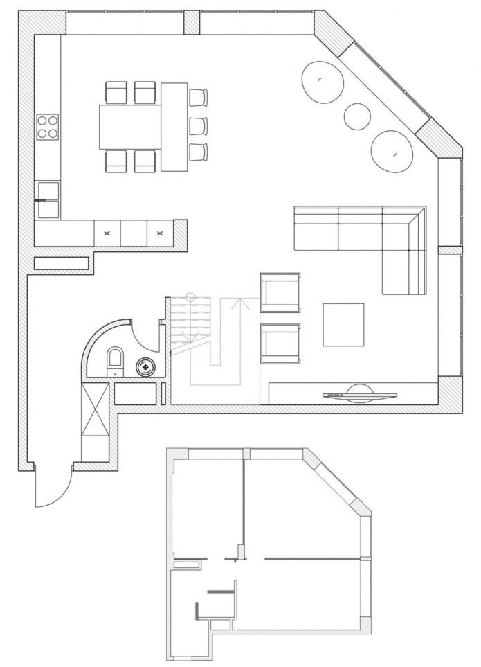 план кухни-гостиной с нестандартной планировкой