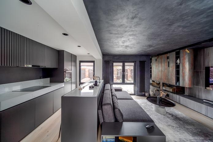 интерьер кухни-гостиной в темных тонах