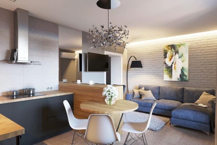диван в интерьере кухни-гостиной