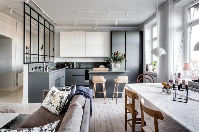 интерьер кухни-гостиной в скандинавском стиле