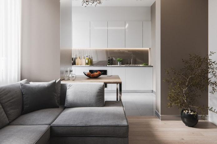интерьер кухни-гостиной в стиле минимализм