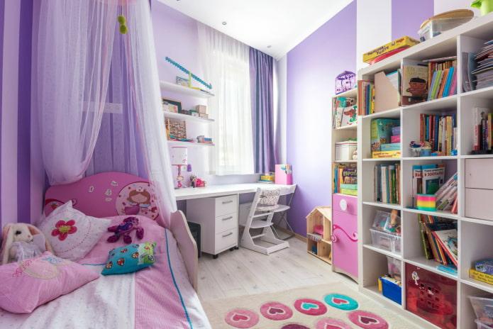 Детская в фиолетово-розовых тонах