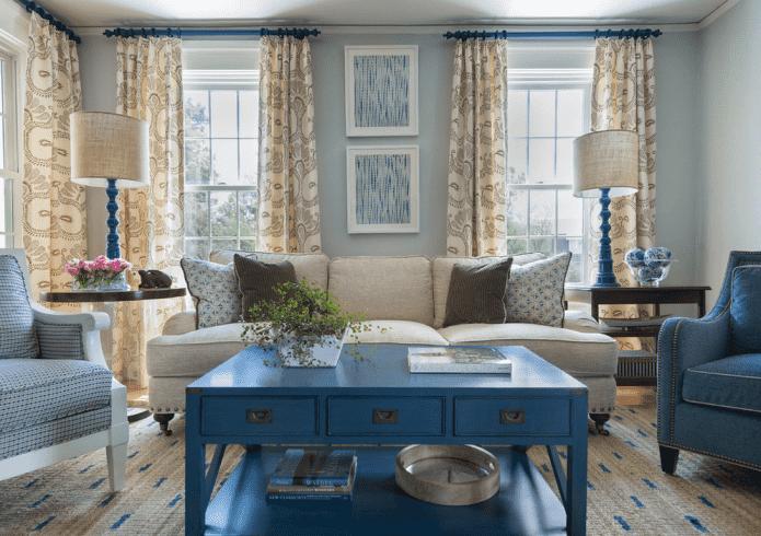 Голубая гостиная: 45 фото в интерьере, сочетания цветов