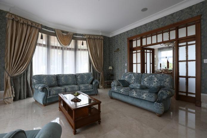 шторы и текстиль в гостиной в интерьере дома