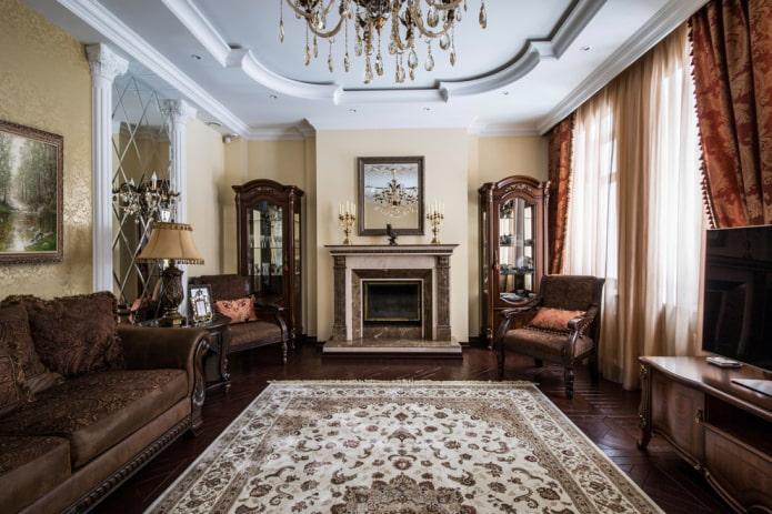 дизайн гостиной в стиле классика