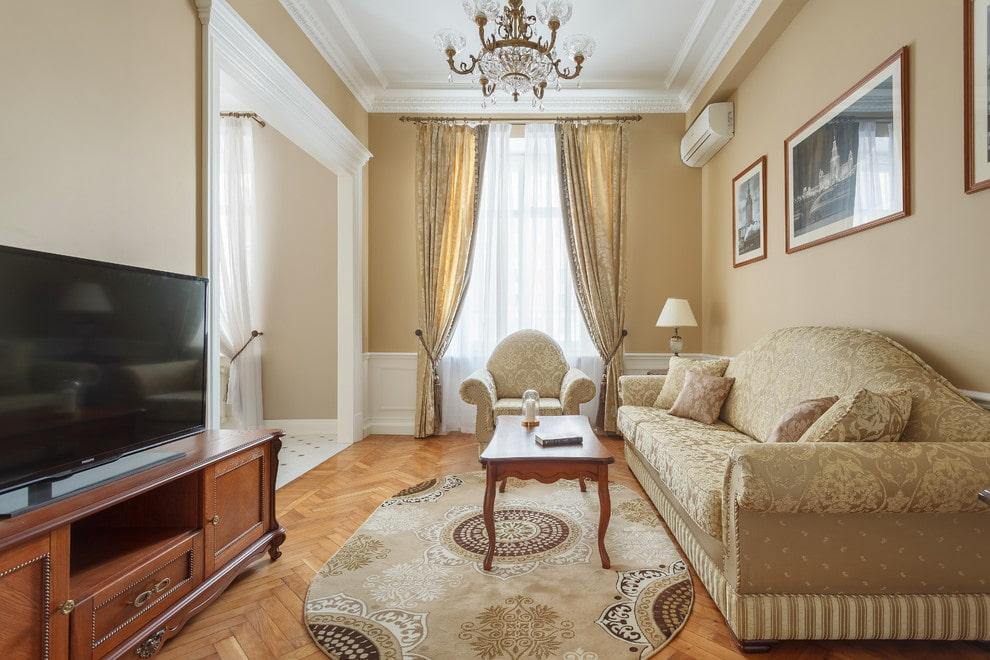 классический дизайн зала в квартире фото комплекс изумрудный