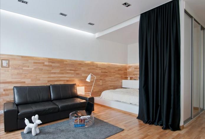 зонирование шторами в интерьере спальни-гостиной