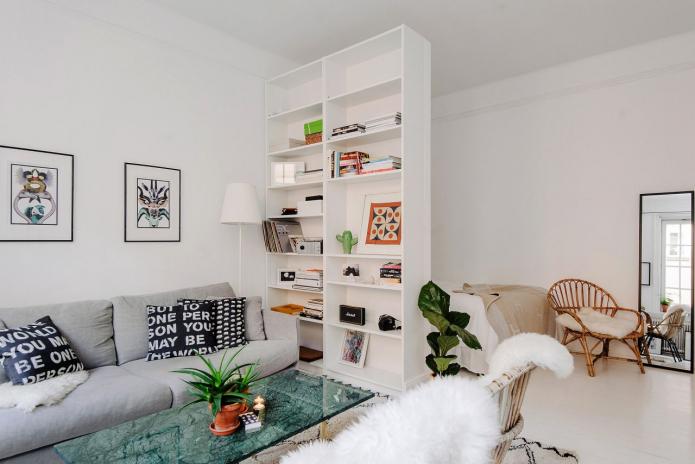 интерьер спальни-гостиной в скандинавском стиле