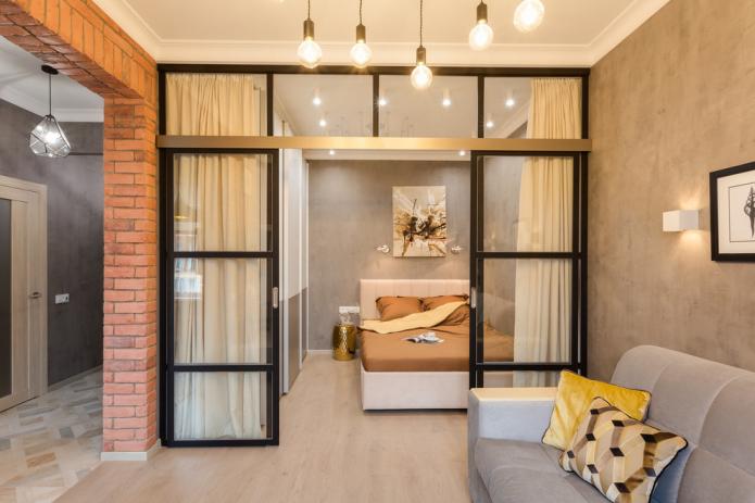 раздвижные перегородки в интерьере спальни-гостиной