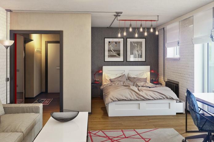 зонирование цветом в интерьере спальни-гостиной