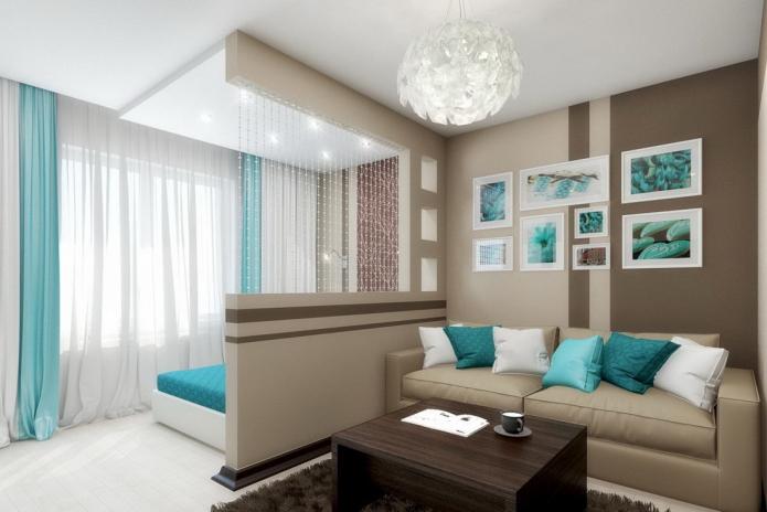 зонирование освещением в интерьере спальни-гостиной