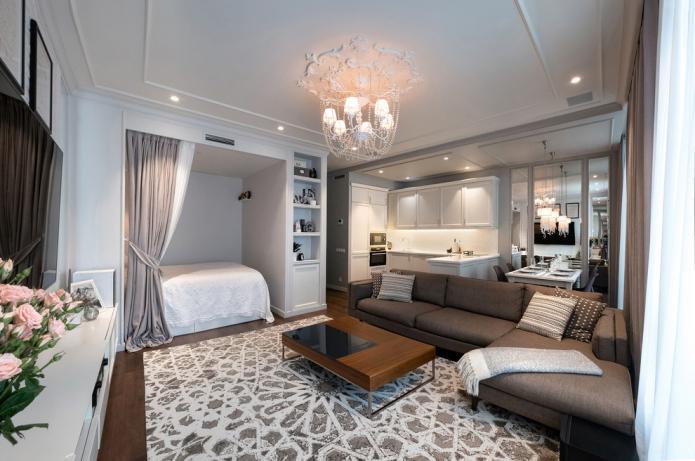 планировка спальни совмещенной с гостиной