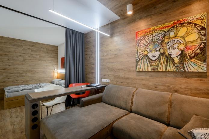 обустройство объединенной спальни-гостиной
