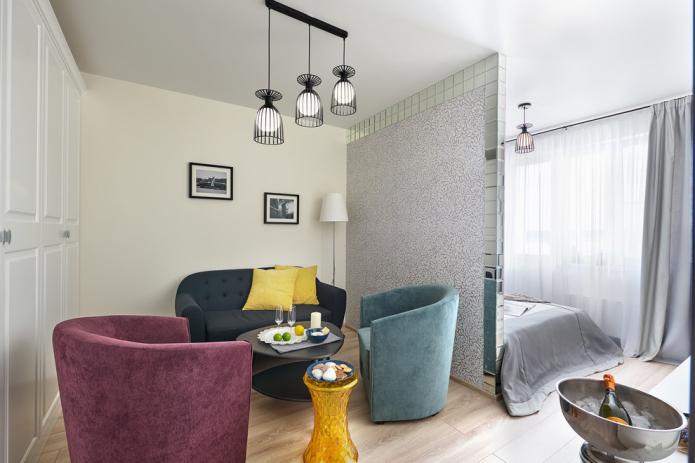 дизайн совмещенной спальни-гостиной
