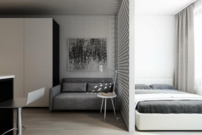 интерьер спальни-гостиной в стиле минимализм