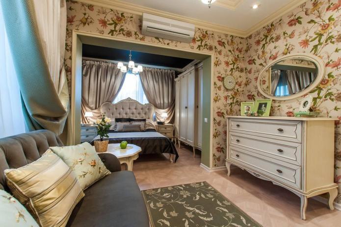 интерьер спальни-гостиной в стиле прованс
