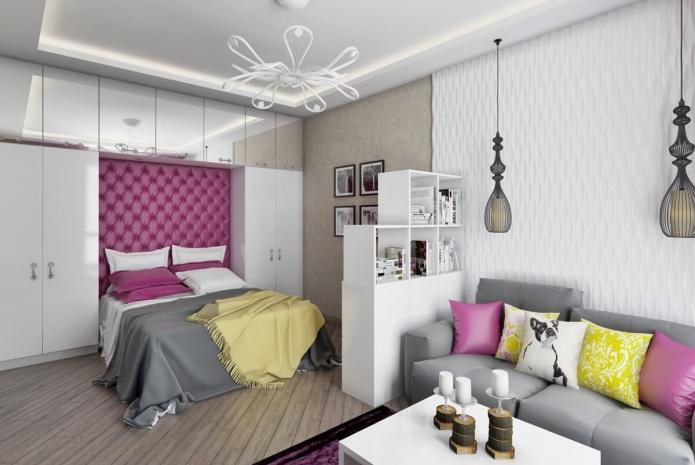 зонирование отделкой в интерьере спальни-гостиной