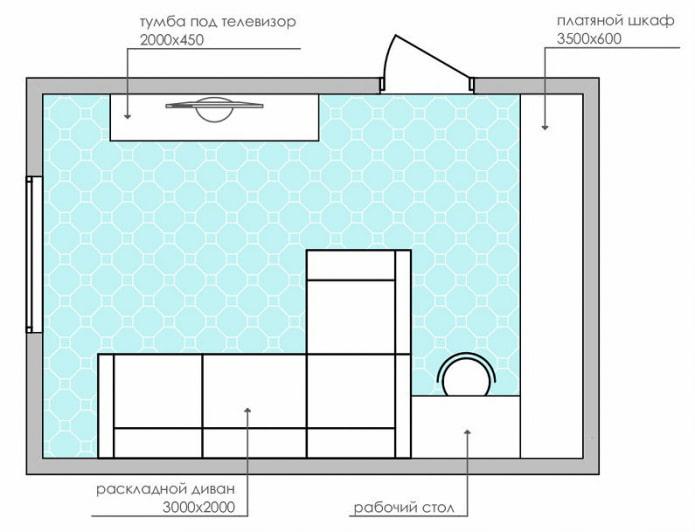 схема прямоугольной гостиной