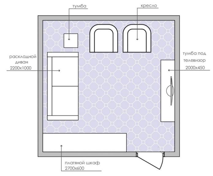 прямоугольная планировка гостиной