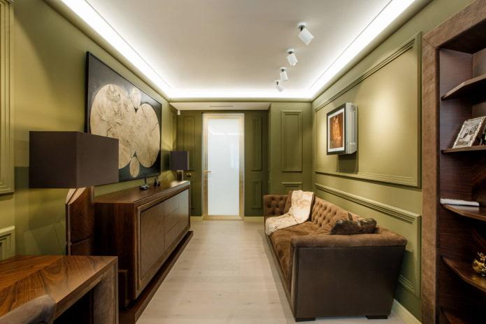 Дизайн прямоугольной гостиной