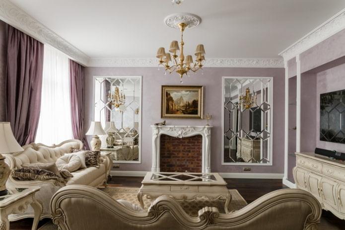 камин в интерьере гостиной в стиле классика