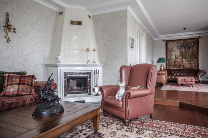 камин в углу в интерьере гостиной